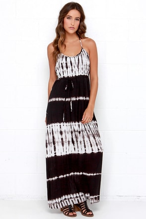 Tie it Out Ivory and Black Tie-Dye Maxi Dress at Lulus.com!