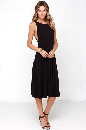 Laissez Flair Black Midi Dress at Lulus.com!