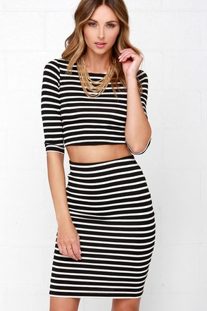 Simple Request Ivory and Black Striped Two-Piece Dress at Lulus.com!