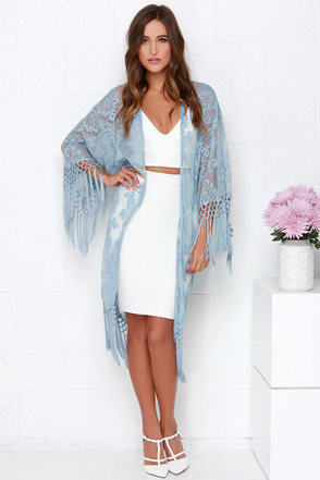 Oahu Loves You Light Blue Lace Kimono Top at Lulus.com!
