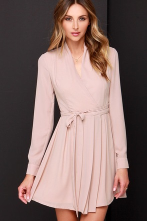 Tie, Tie Again Mauve Long Sleeve Wrap Dress at Lulus.com!