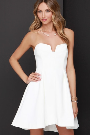 Keepsake Divide Ivory Strapless Skater Dress at Lulus.com!