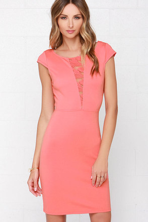 Black Swan Eternal Coral Pink Lace Dress at Lulus.com!