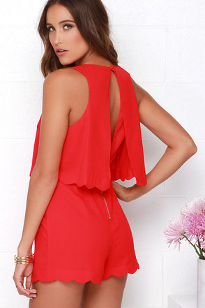 Ahead of the Curves Scalloped Red Romper at Lulus.com!