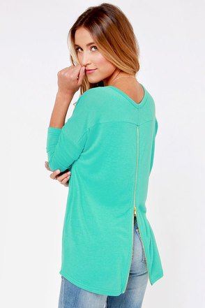 Zip to My Lou Teal Sweater Top