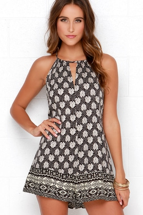 Swaying Willow Cream and Black Print Romper at Lulus.com!