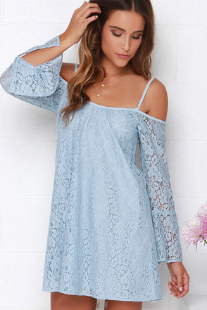 Lucy Love Hollie Light Blue Long Sleeve Lace Dress at Lulus.com!