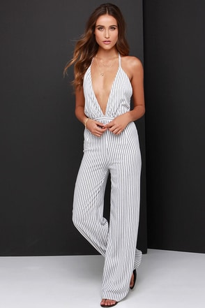 Faithfull the Brand Agenda Black and Ivory Striped Jumpsuit at Lulus.com!