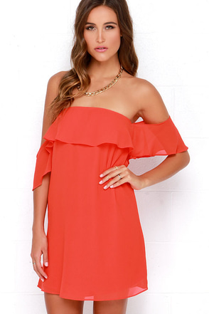 Heart Song Red Off-the-Shoulder Dress at Lulus.com!