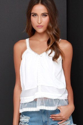 JOA Tier or Far Ivory Lace Top at Lulus.com!