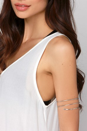 Armed to the Chic Silver Arm Cuff at Lulus.com!
