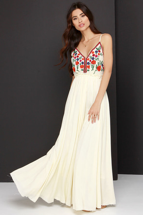 Raga Isabella Embroidered Pale Yellow Maxi Dress at Lulus.com!