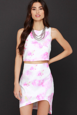 Watercolor Ways Pink and Ivory Print Two-Piece Dress at Lulus.com!