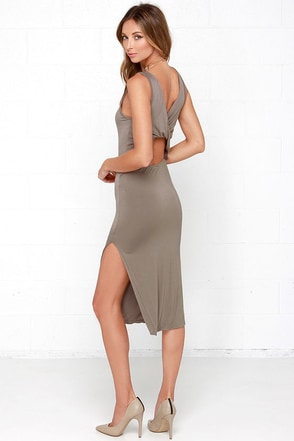 Knot What it Seems Taupe Midi Dress at Lulus.com!