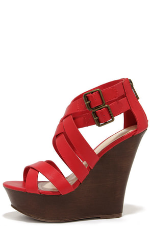 Pretty, Tall, and Merry Red Caged Wedge Sandals at Lulus.com!