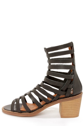 Sixtyseven 75935 Aiden Vachetta Black Caged High Heel Sandals