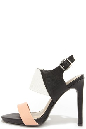 Baby Got Block Black Multi Color Block High Heel Sandals at Lulus.com!