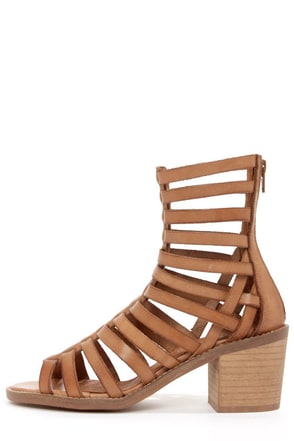 Sixtyseven 75935 Aiden Vachetta Caramelo Caged High Heel Sandals