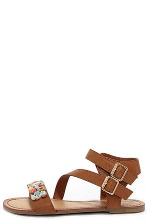 Madden Girl Kandis Cognac Multi Rhinestone Sandals at Lulus.com!