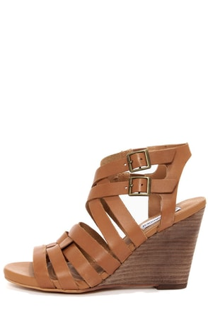Steve Madden Venis Natural Leather Strappy Wedge Sandals