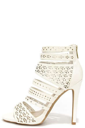 Lacy-like Behavior White Perforated Caged Heels at Lulus.com!
