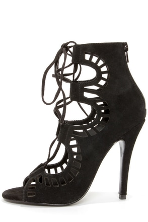 Modern Vice Ghillie Black Suede Cutout Lace-Up Booties