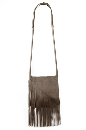 So They Suede Grey Leather Fringe Purse at Lulus.com!