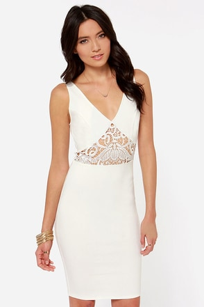 Lady Lovestruck Backless Ivory Lace Dress
