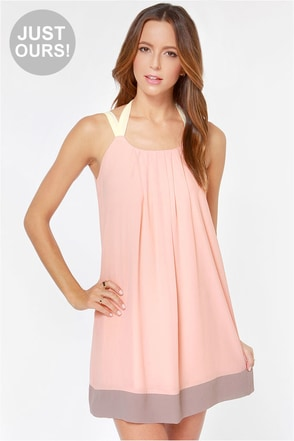 LULUS Exclusive Sorbet Soiree Peach Shift Dress