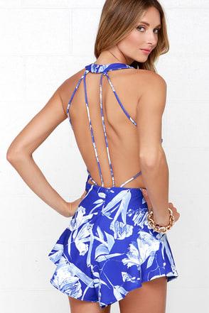 Style Stalker Jasmine Blue Floral Print Romper at Lulus.com!