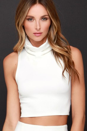 Neck Yes Ivory Crop Top at Lulus.com!