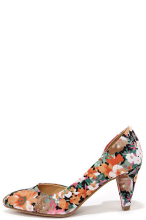 CL by Laundry Angelina Floral Print D'Orsay Kitten Heels at Lulus.com!