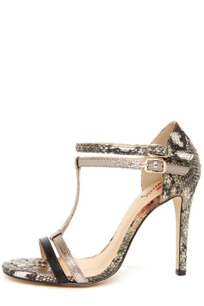 Luichiny Day Glow Coral, Bronze, and Black Snake T-Strap Heels