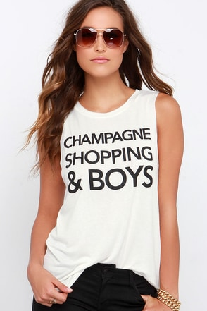 Champagne, Shopping and Boys Cream Muscle Tee at Lulus.com!