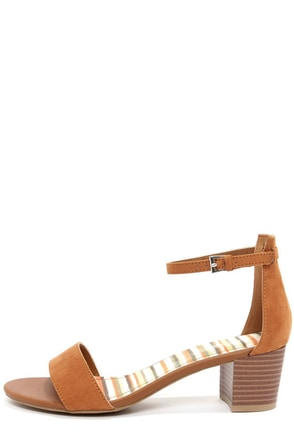Bamboo Leroy 01 Chestnut Suede Ankle Strap Sandals