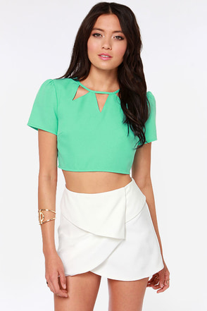 Get to the Point Cutout Coral Crop Top