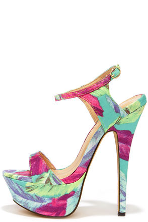 Electric Cute Blue Multi Print Platform Heels at Lulus.com!