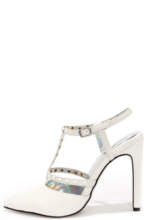 Luichiny That a Girl White Snakeskin Studded Pointed Heels at Lulus.com!