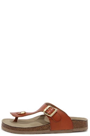 Madden Girl Boise Cognac Buckled Thong Sandals at Lulus.com!