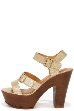 Starstruck Light Gold Platform Sandals at Lulus.com!