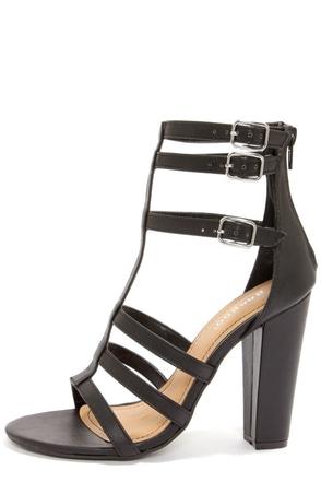 Bamboo Senza 07 Black Strappy Peep Toe Heels