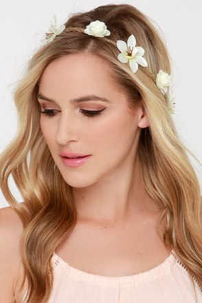Wild Flower Fields Pale Yellow Flower Crown at Lulus.com!