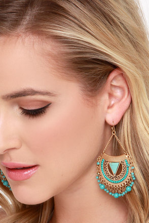 Sol Searching Gold and Turquoise Earrings at Lulus.com!