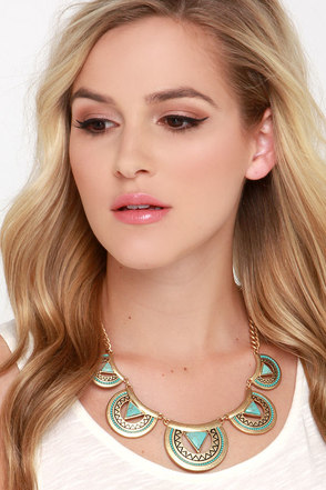 Half Moon Bay Gold and Turquoise Statement Necklace at Lulus.com!