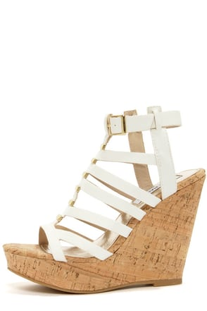 Steve Madden Indyanna White Platform Wedge Sandals