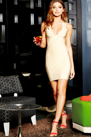 One Woman Band-age Beige Bodycon Dress at Lulus.com!