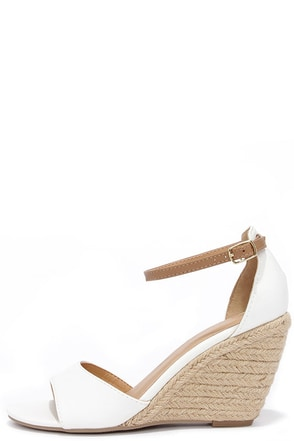 Charm School Ice White Espadrille Wedge Sandals at Lulus.com!