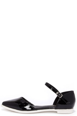 Patent Pending Black Patent Pointed Ankle Strap Flats at Lulus.com!