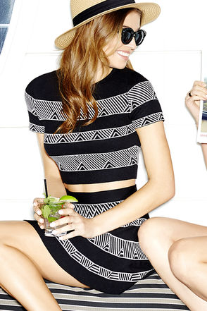 Cityscape Ivory and Black Print Two-Piece Dress at Lulus.com!