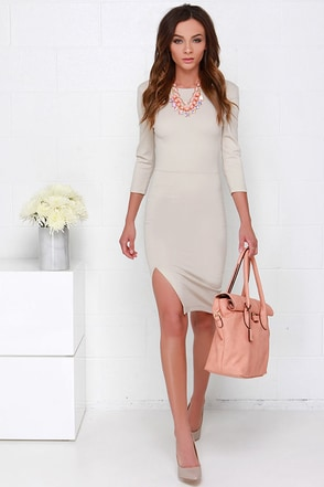 Contemporary Artist Beige Midi Dress at Lulus.com!